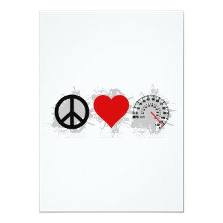 Peace Love Speed  Emblem 2 13 Cm X 18 Cm Invitation Card