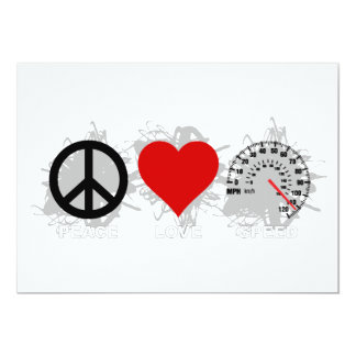 Peace Love Speed  Emblem 2 13 Cm X 18 Cm Invitation Card