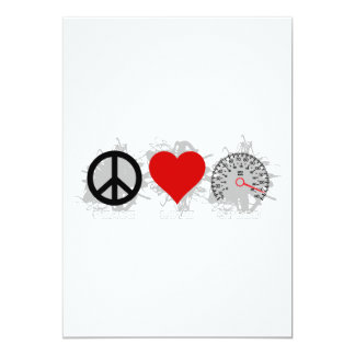 Peace Love Speed  Emblem 3 13 Cm X 18 Cm Invitation Card