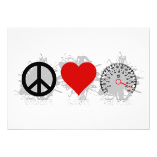 Peace Love Speed Emblem 3 Personalized Invite