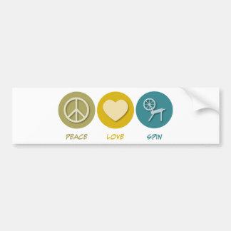 Peace Love Spin Bumper Sticker