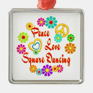 PEACE LOVE Square Dancing Christmas Ornament