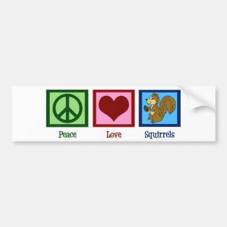 Peace Love Squirrels Bumper Sticker