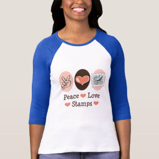 Peace Love Stamps Postage Stamp Raglan Tee