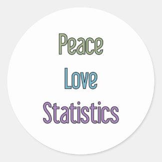 Peace, Love, Statistics Round Sticker