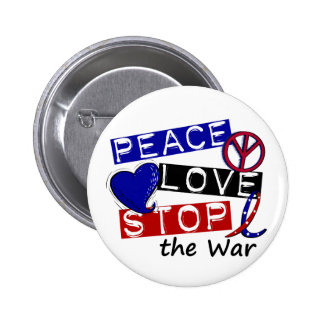 PEACE LOVE STOP The War T-Shirts & Gifts Pinback Buttons