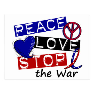 PEACE LOVE STOP The War T-Shirts & Gifts Postcard