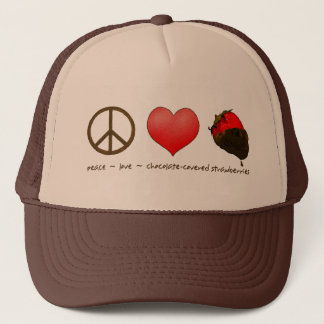 Peace Love Strawberries Trucker Hat