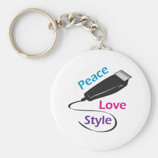 PEACE LOVE STYLE BASIC ROUND BUTTON KEY RING