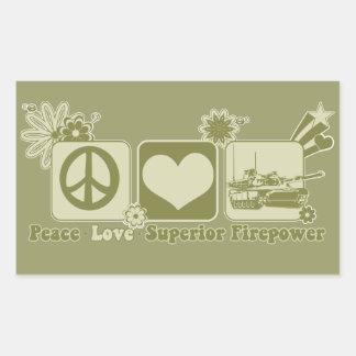 Peace Love Superior Firepower Rectangular Sticker