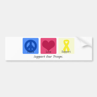 Peace Love Support Troops Bumper Sticker