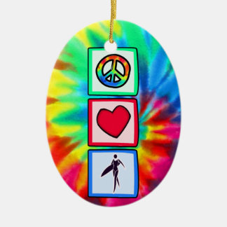 Peace, Love, Surfer Girls Christmas Ornament