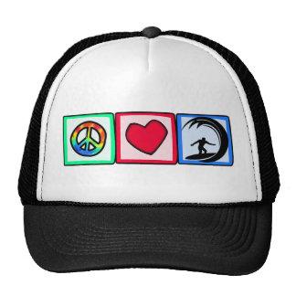 Peace, Love, Surfing Cap