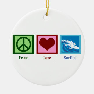 Peace Love Surfing Christmas Ornament
