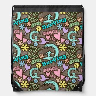 Peace, Love, Surfing Drawstring Bag