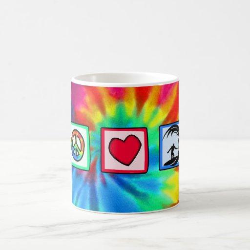 Peace, Love, Surfing Mugs