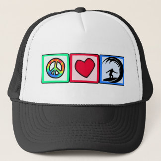 Peace, Love, Surfing Trucker Hat