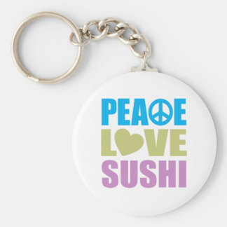 Peace Love Sushi Basic Round Button Key Ring
