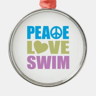 Peace Love Swim Christmas Ornament