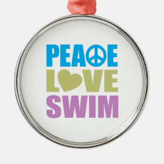 Peace Love Swim Silver-Colored Round Decoration