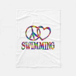 Peace Love Swimming Fleece Blanket