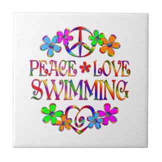Peace Love Swimming Small Square Tile