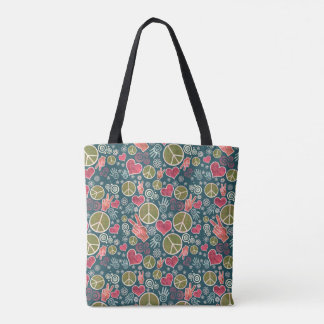 Peace Love Symbol Design Tote Bag