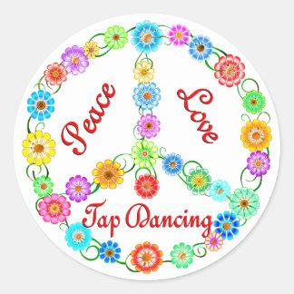 Peace Love Tap Dancing Classic Round Sticker