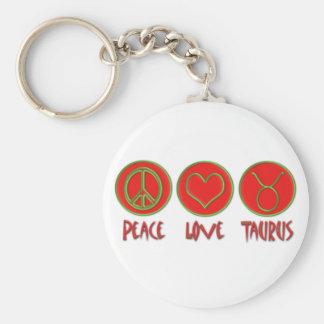 Peace Love Taurus Basic Round Button Key Ring