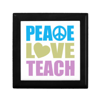 Peace Love Teach Small Square Gift Box