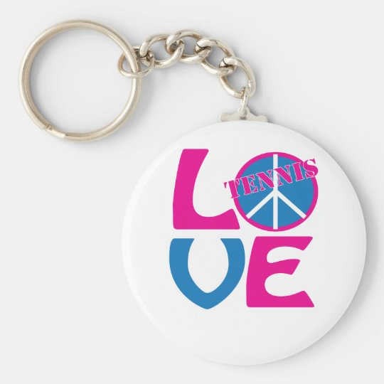 Peace, Love, Tennis Apparel and Gifts Basic Round Button Key Ring