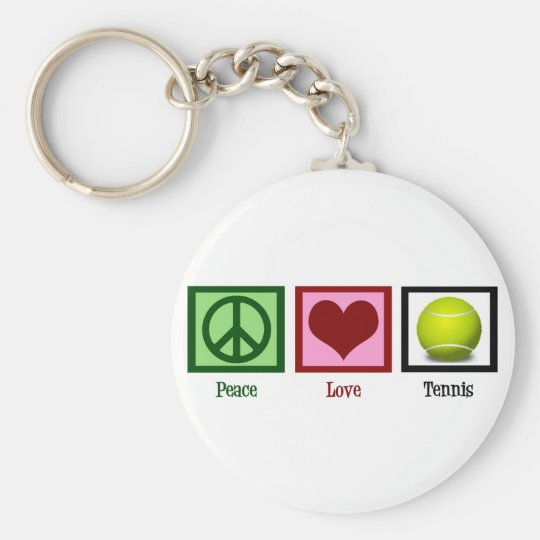 Peace Love Tennis Basic Round Button Key Ring