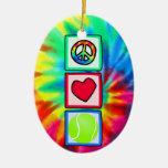Peace, Love, Tennis Ceramic Oval Decoration