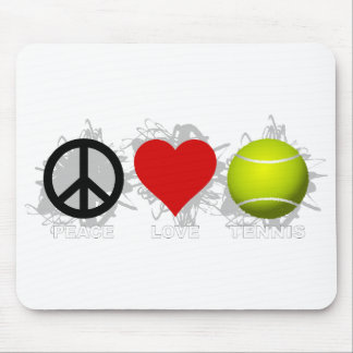 Peace Love Tennis Emblem Mouse Mat