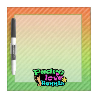 Peace, Love, Tennis; Retro Dry Erase Board