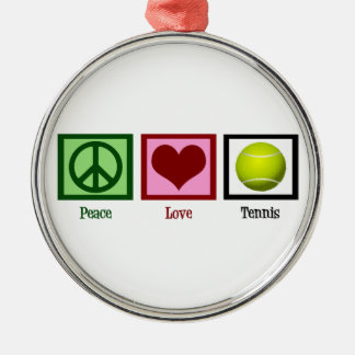Peace Love Tennis Silver-Colored Round Decoration