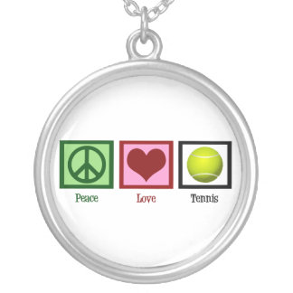 Peace Love Tennis Silver Plated Necklace