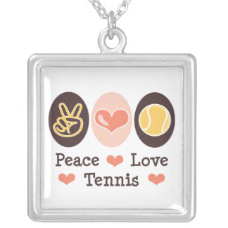 Peace Love Tennis Sterling Silver Necklace