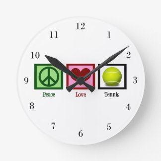 Peace Love Tennis Wall Clock