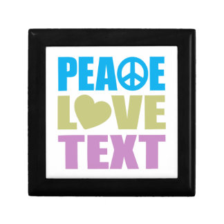 Peace Love Text Small Square Gift Box