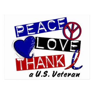 PEACE LOVE THANK A Veteran T-Shirts & Apparel Postcard