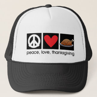 Peace, Love, Thanksgiving Trucker Hat