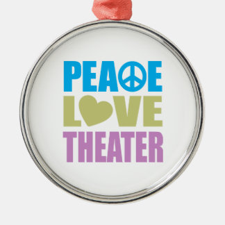 Peace Love Theater Silver-Colored Round Decoration