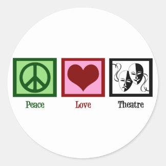 Peace Love Theatre Classic Round Sticker