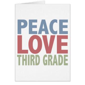 Peace Love Third Grade Greeting Card