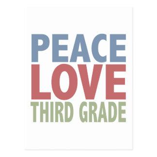 Peace Love Third Grade Postcard
