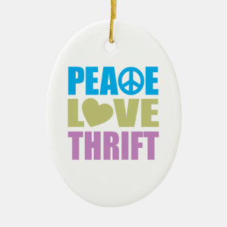 Peace Love Thrift Ceramic Oval Decoration