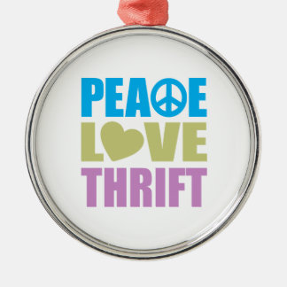 Peace Love Thrift Silver-Colored Round Decoration