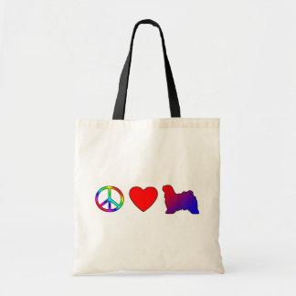 Peace Love Tibetan Terriers Canvas Bags