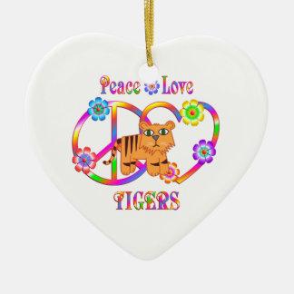 Peace Love Tigers Ceramic Heart Decoration
